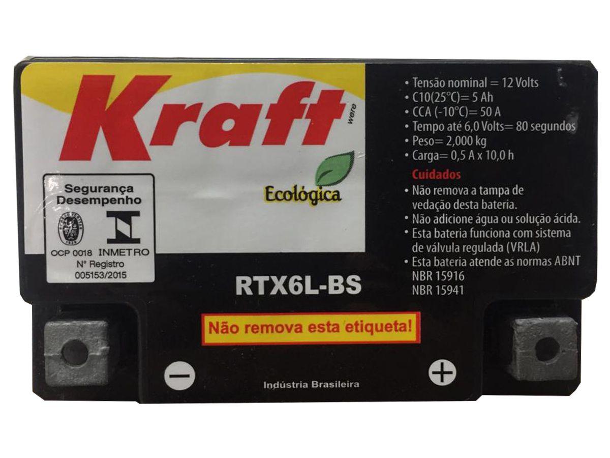 BATERIA PARA MOTO KRAFT RTX6L-BS 5Ah 12V