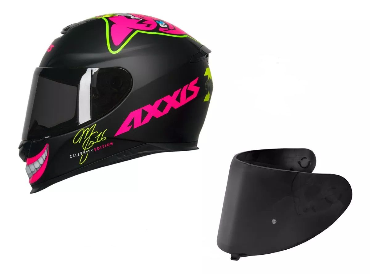 CAPACETE AXXIS EAGLE MG16 CELEBRITY EDITION MARIANNY MATT BLACK + VISEIRA FUMÊ