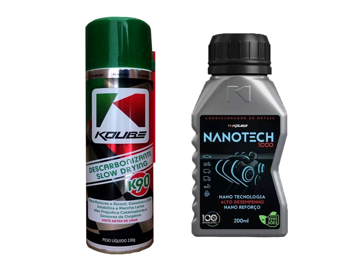 Kit 1 Descarbonizante Koube Slow Drying K90 + 1 Nanotech 1000