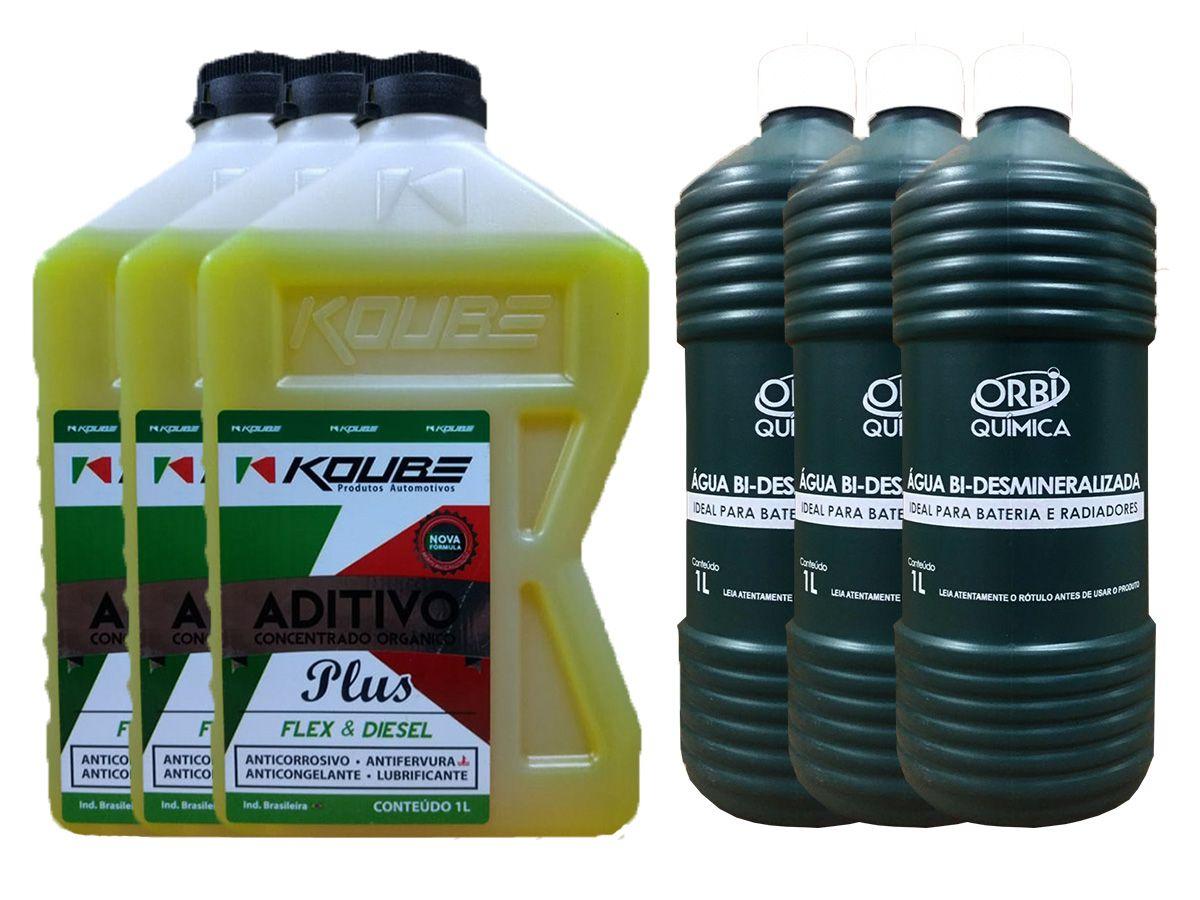 3 Aditivo Para Radiador Concentrado Koube Plus Amarelo + 3 Água Desmineralizada
