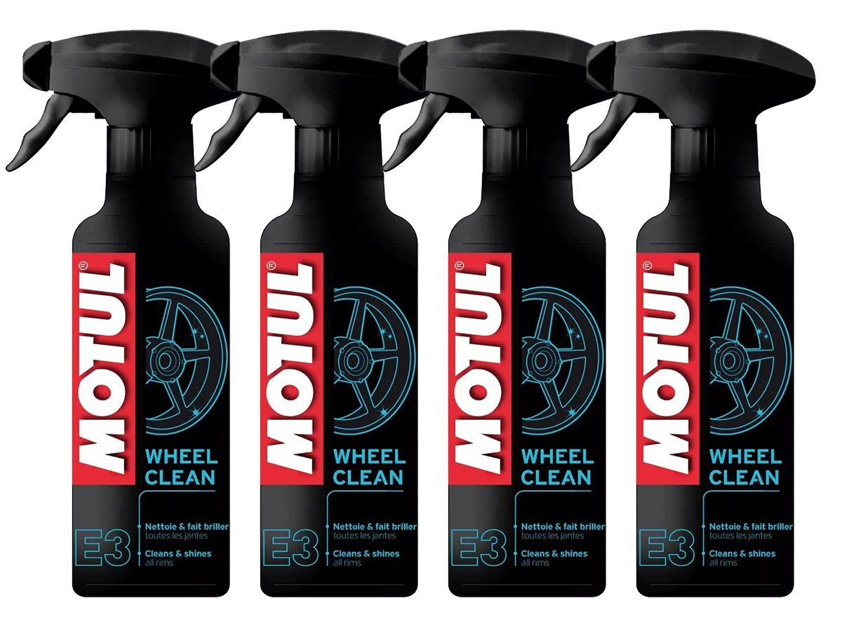 Kit C/ 4 Un. Motul E3 Wheel Clean Limpeza De Roda Moto 400ml