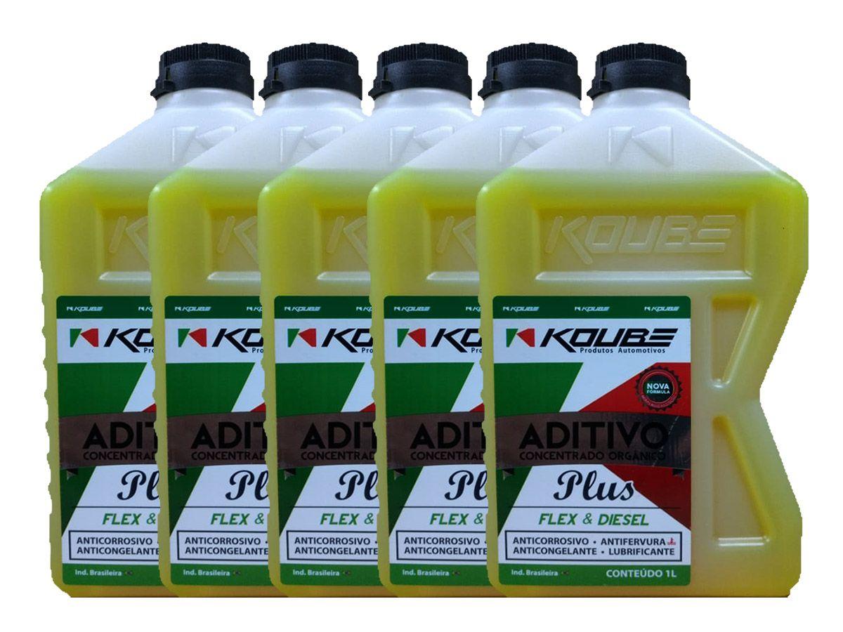 Kit Com 5 Litros De Aditivo Koube Plus Flex Diesel Amarelo