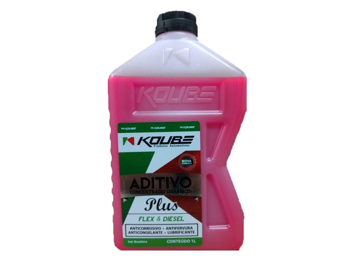 Kit Com 2 Litros De Aditivo Koube Plus Flex Diesel Rosa