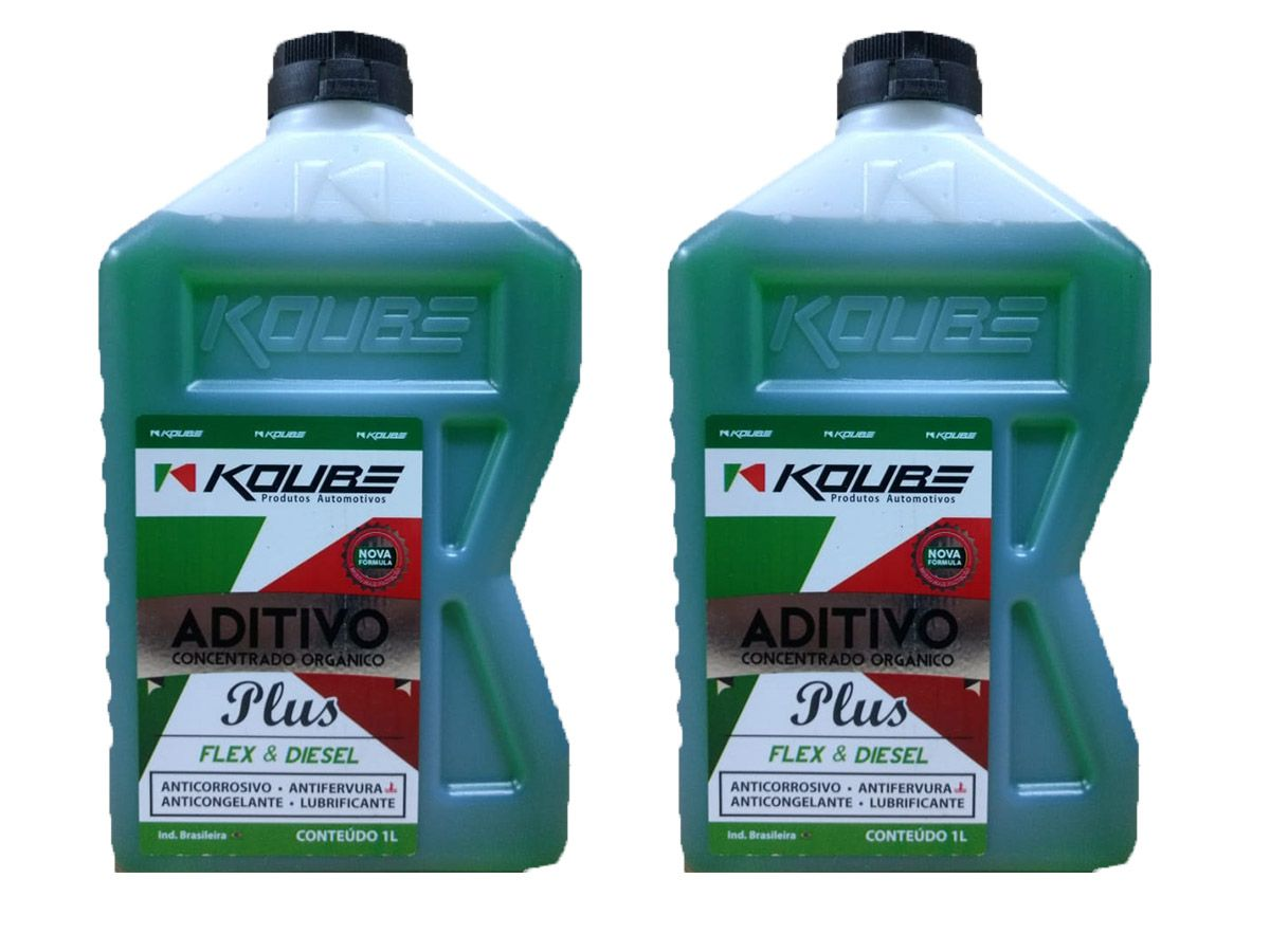 Kit Com 2 Litros De Aditivo Koube Plus Flex Diesel Verde