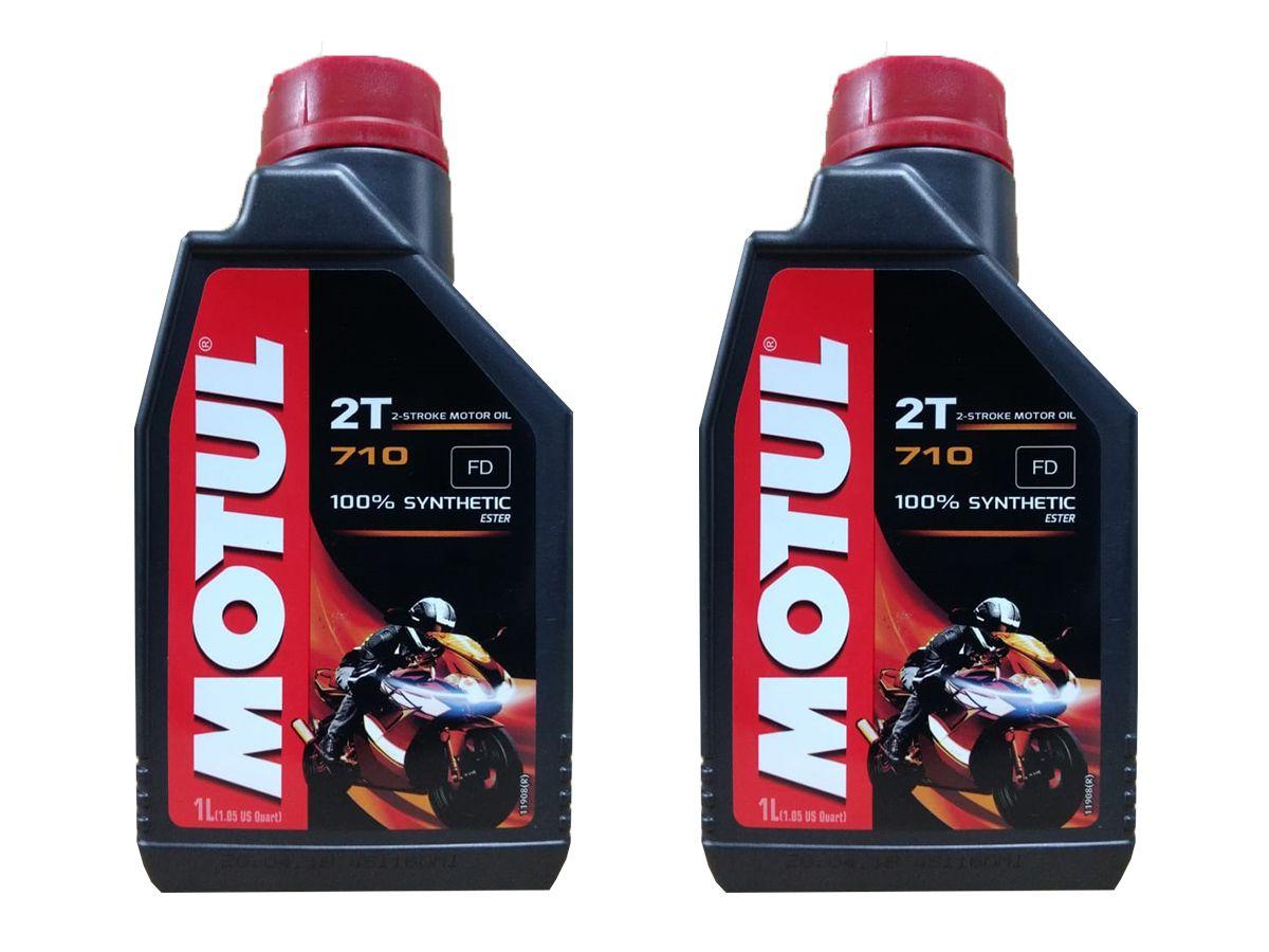 KIT COM 2 LITROS DE ÓLEO MOTUL 710 2T MOTO