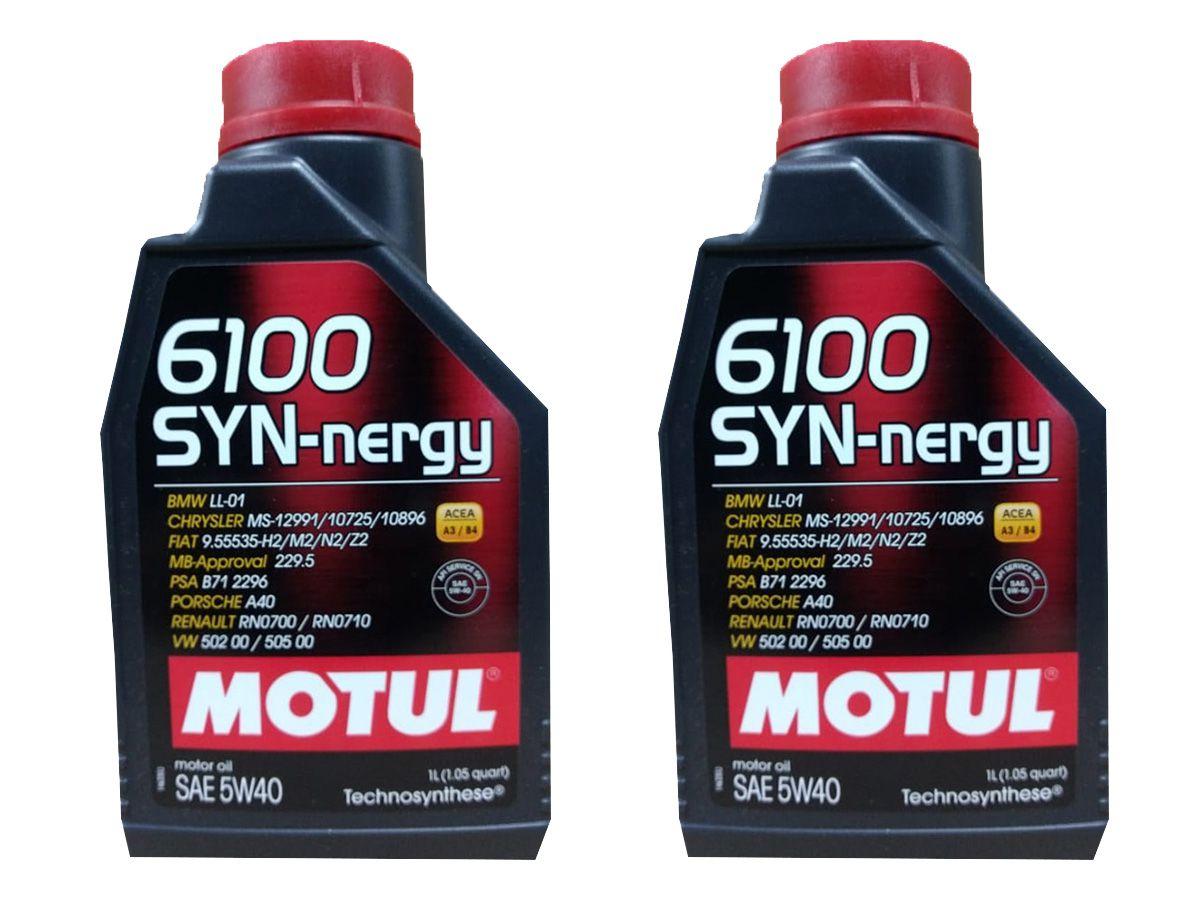 Kit Com 2 Litros De Óleo Sintético Motul 6100 Syn-nergy 5w40
