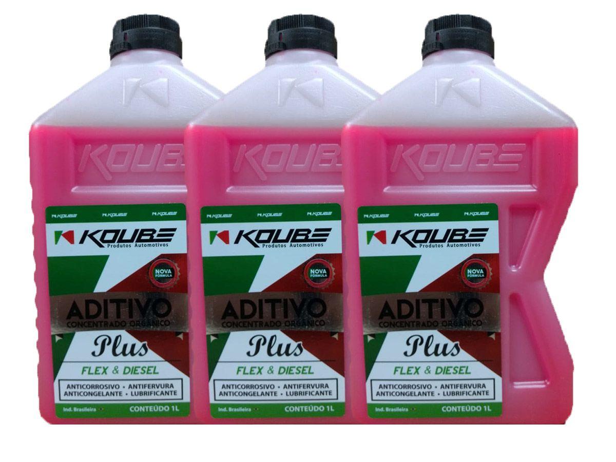 Kit Com 3 Litros De Aditivo Koube Plus Flex Diesel Rosa