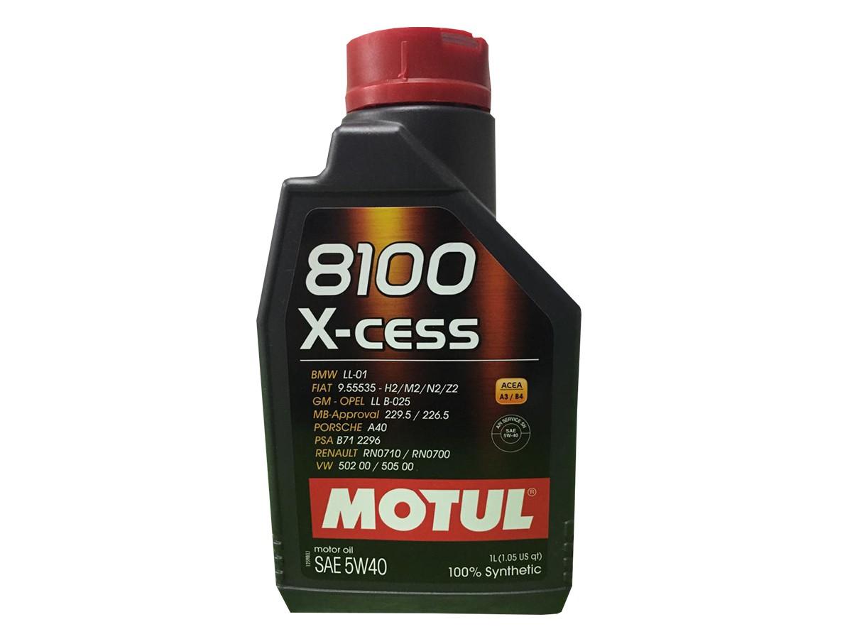 KIT COM 3 LITROS ÓLEO MOTUL 8100 X-CESS 5W40 100% SINTÉTICO