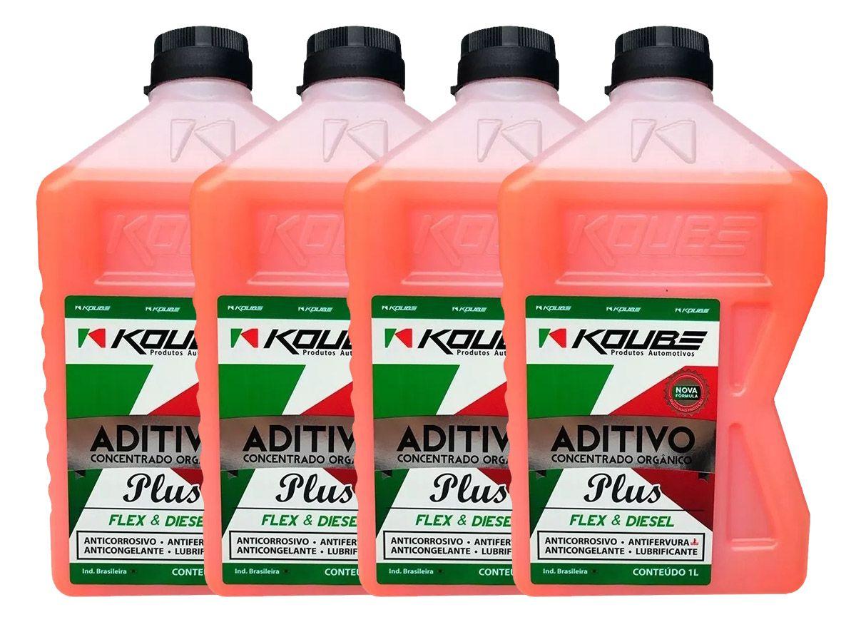 Kit Com 4 Litros De Aditivo Koube Plus Flex Diesel Laranja