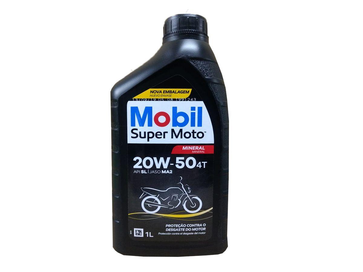 KIT COM 4 LITROS DE ÓLEO MOBIL SUPER MOTO 4T 20W50