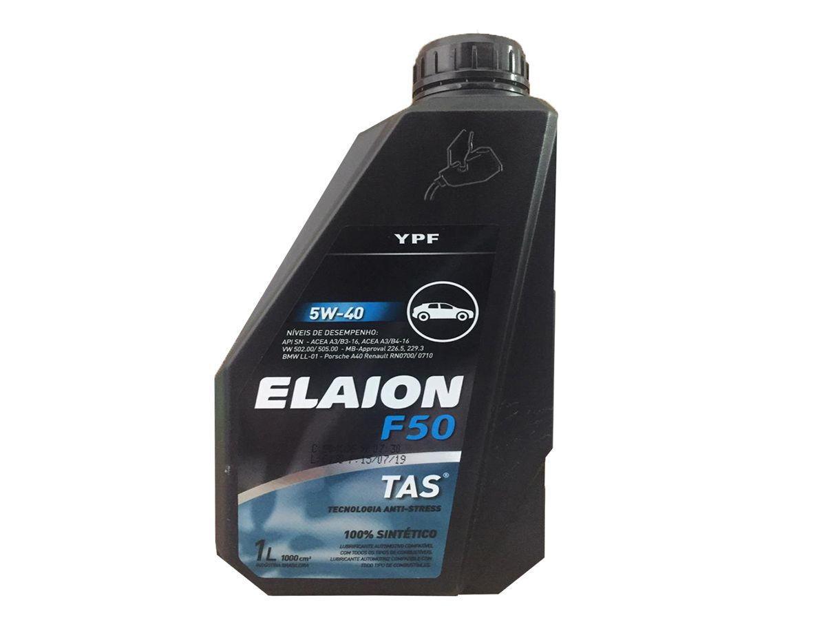 KIT COM 5 LITROS DE ÓLEO MOTOR ELAION F50 5W40 SN 100% SINTÉTICO YPF 1L