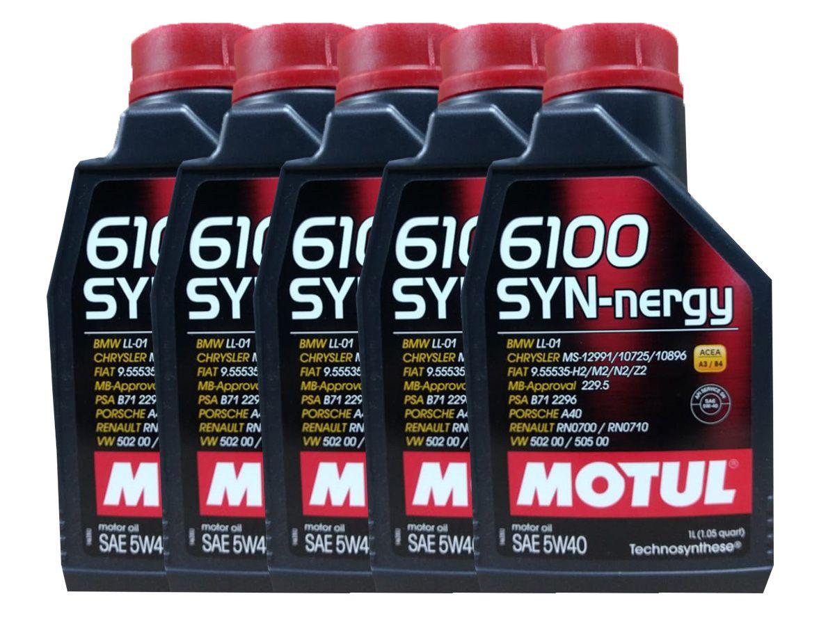 Kit Com 5 Litros De Óleo Sintético Motul 6100 Syn-nergy 5w40
