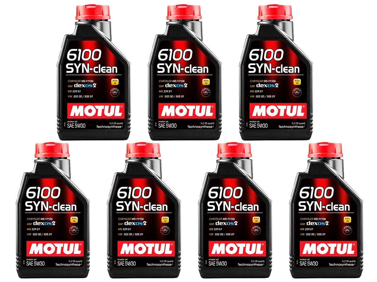 KIT COM 7 LITROS DE ÓLEO MOTUL 6100 SYN-CLEAN 5W30 SINTÉTICO