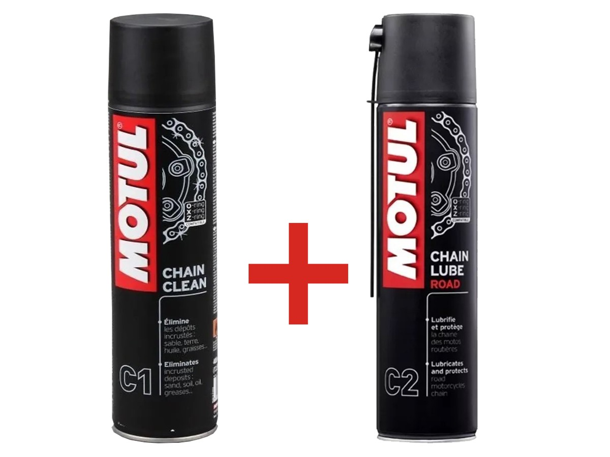 KIT MOTUL 1 C1 CHAIN CLEAN + 1 C2 CHAIN LUB ROAD