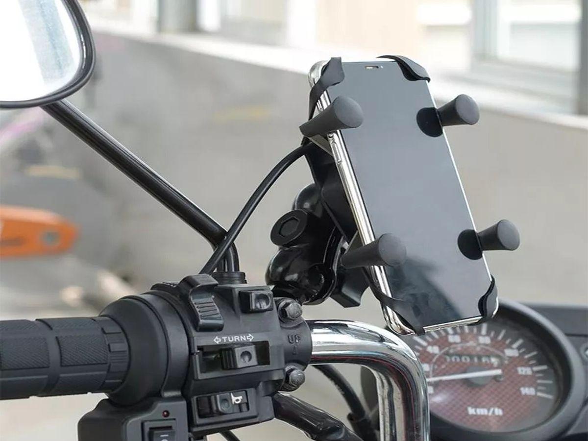 SUPORTE DE CELULAR E GPS PARA MOTOS E BICICLETAS COM CARREGADOR