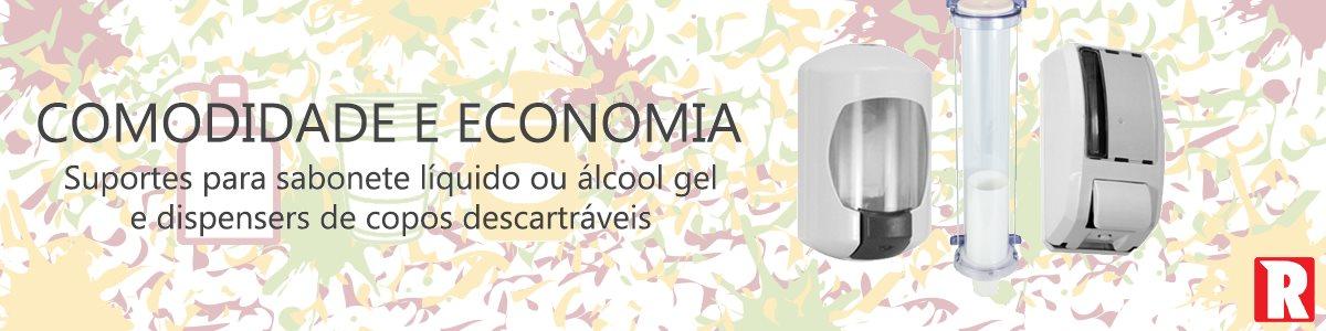 Comodidade e economia Suportes para sabonete líquido ou álcool gel. Dispensadores para copos descartáveis