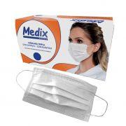 Máscara descartável com elástico e clipe nasal caixa c/50