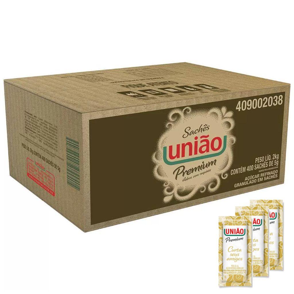 Açúcar sachê caixa c/400 unidadades refinado granulado Premium União