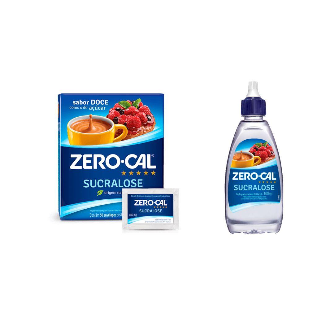 Adoçante sucralose líquido ou sachê Zero Cal