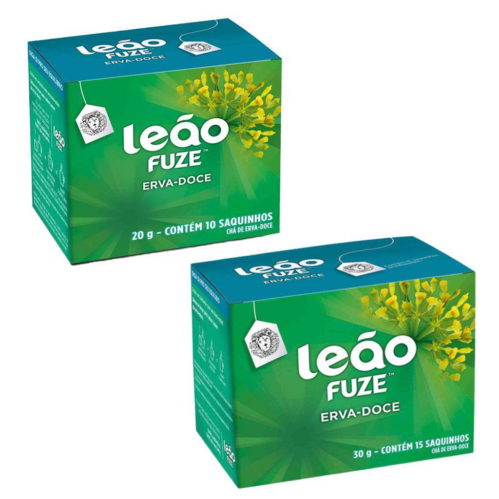 Chá de erva-doce caixa com 10 ou 15 sachês envelopados Leão