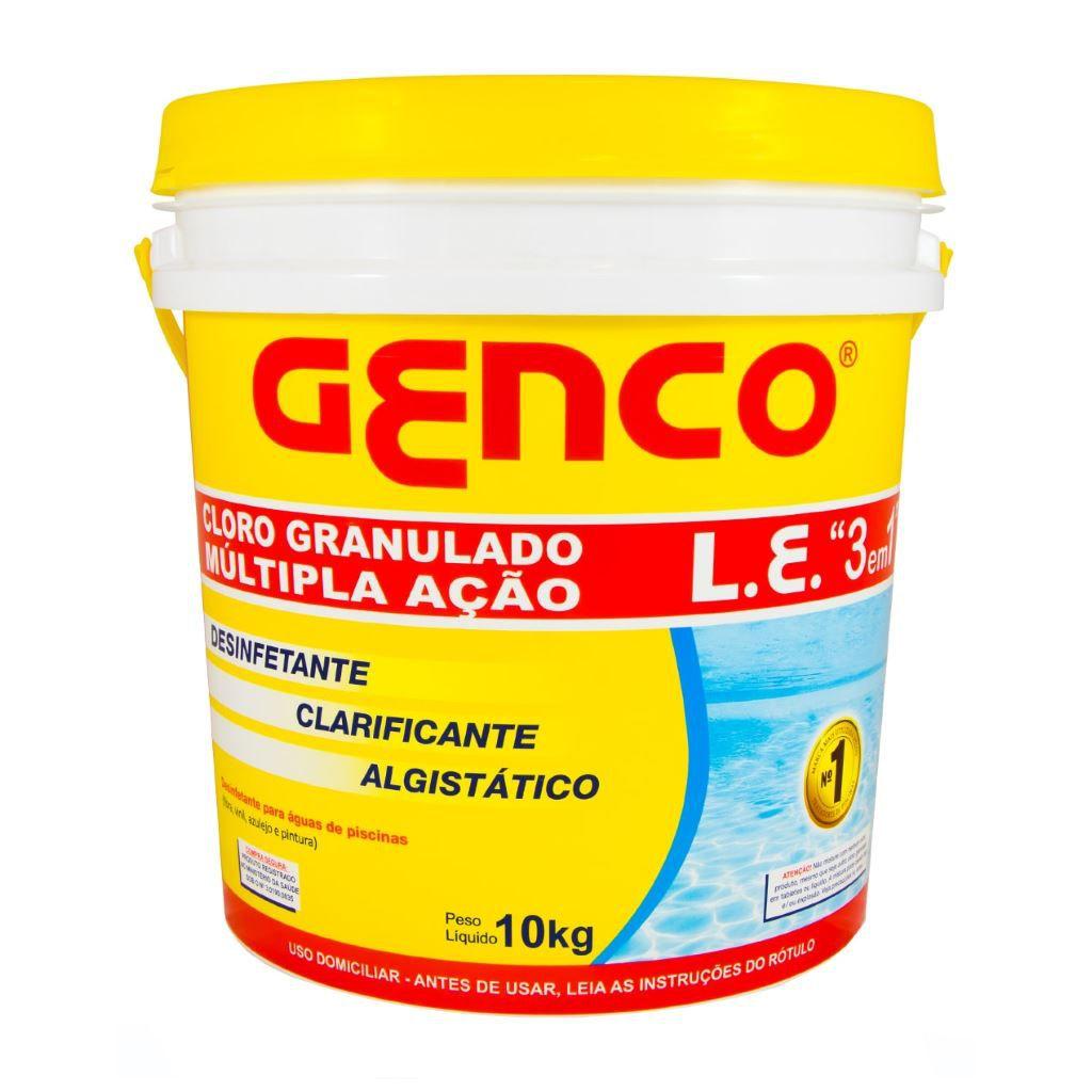 Cloro granulado estabilizado múltipla ação 3em1 10 kg Genco
