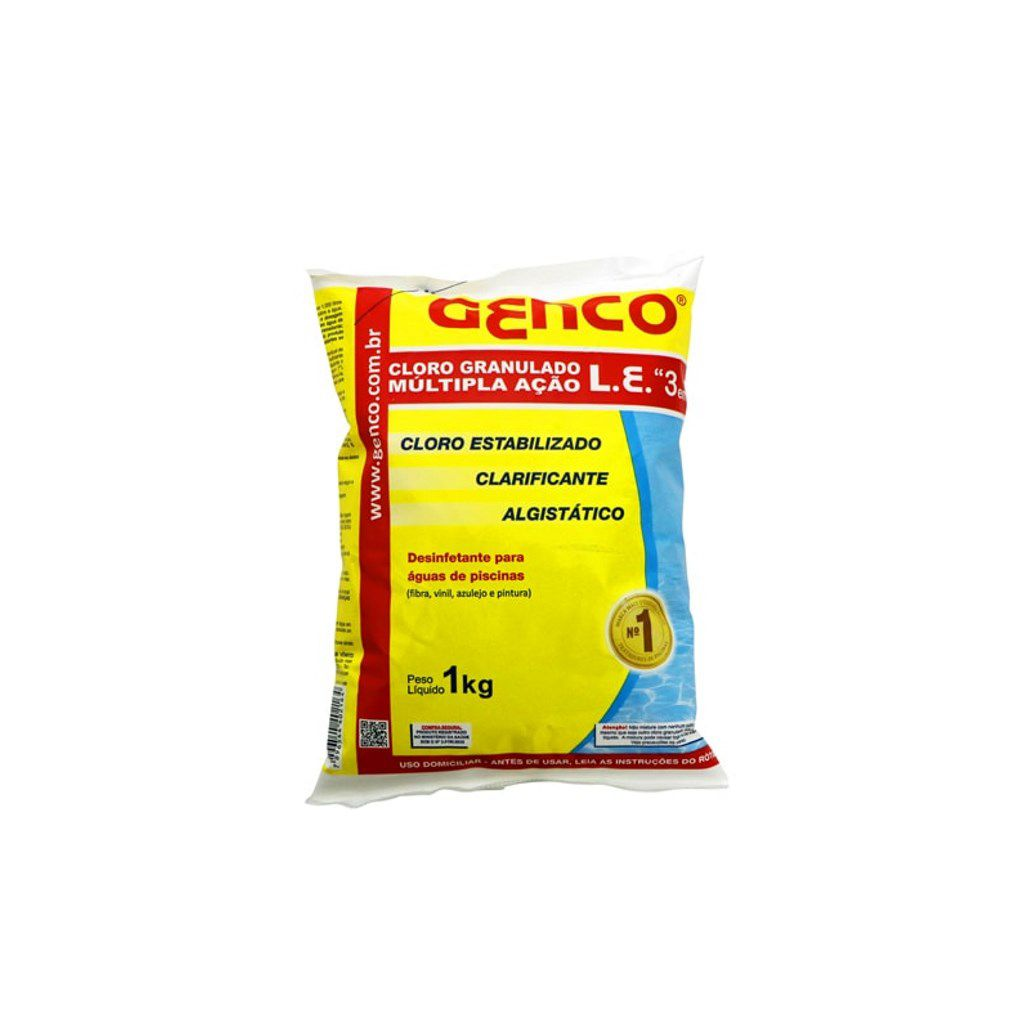 Cloro granulado estabilizado múltipla ação 3em1 1 kg Genco