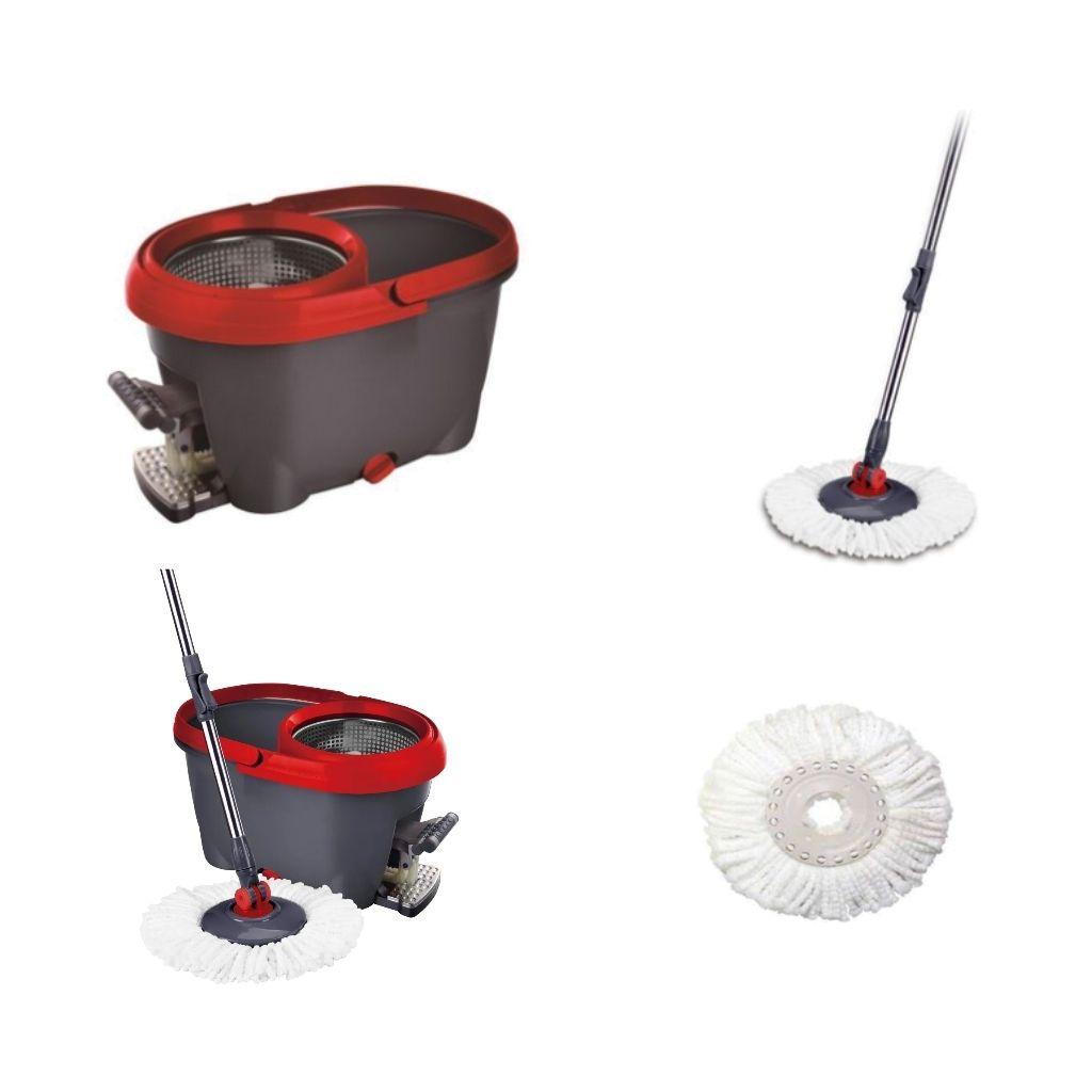 Mop esfregão giratório inox com pedal e refil Bettanin