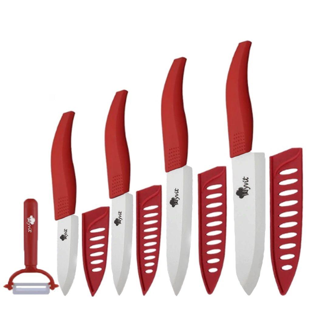 Jogo de facas de cerâmica e cabo emborrachado 5 peças MyVit