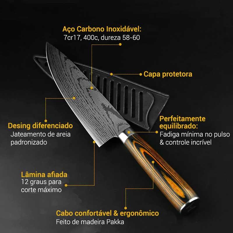 Jogo de facas profissional inox damasco 5 peças MyVit