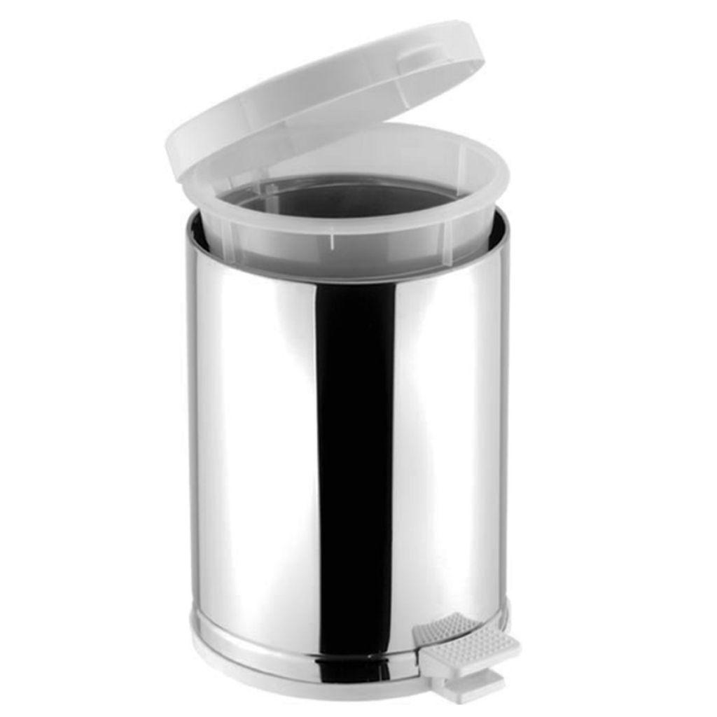 Lixeira inox com pedal, cesto e tampa branca 10,5 litros