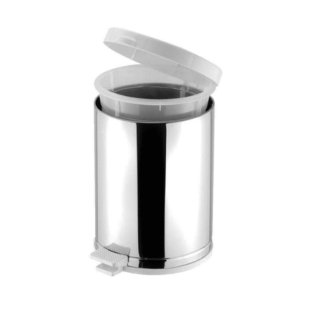 Lixeira inox com pedal, cesto e tampa branca 4,5 litros