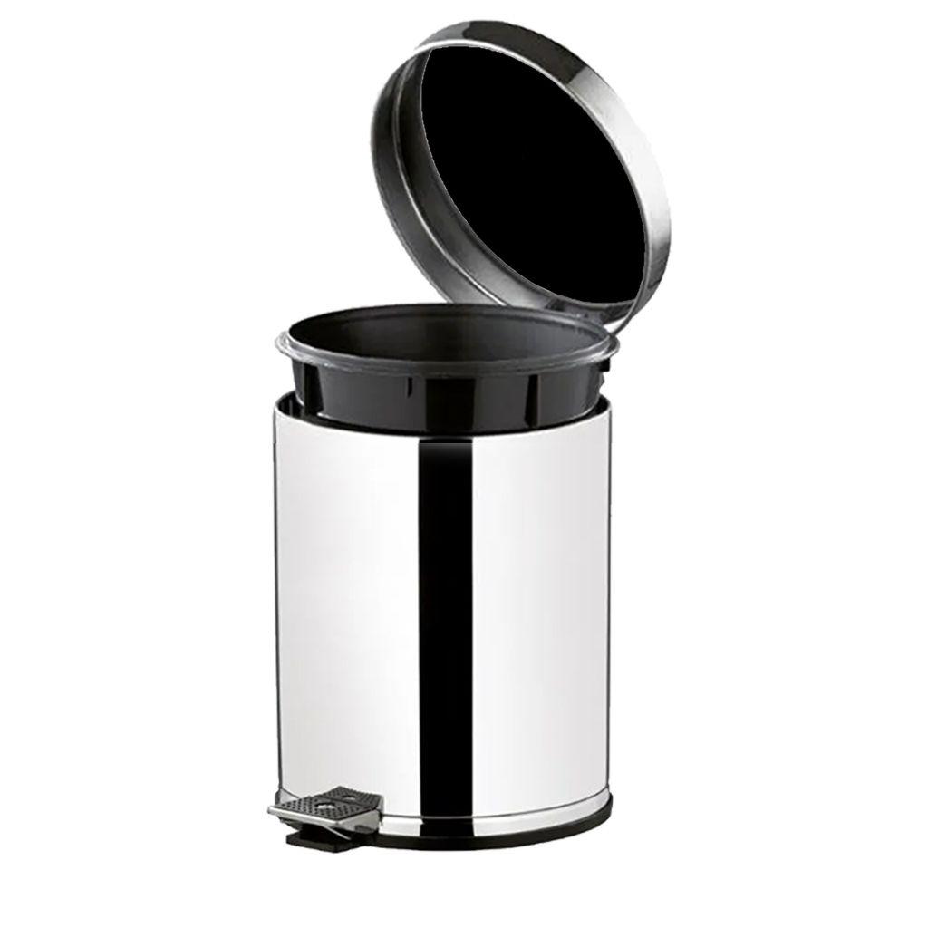 Lixeira inox com pedal, cesto e tampa preta 4,5 litros