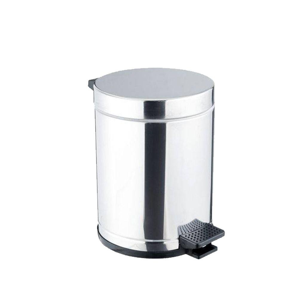 Lixeira inox total com pedal 4,5 litros e cesto plástico
