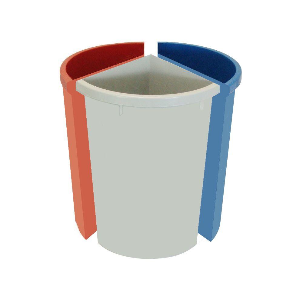 Lixeira seletiva mix com três divisões móveis 30 litros