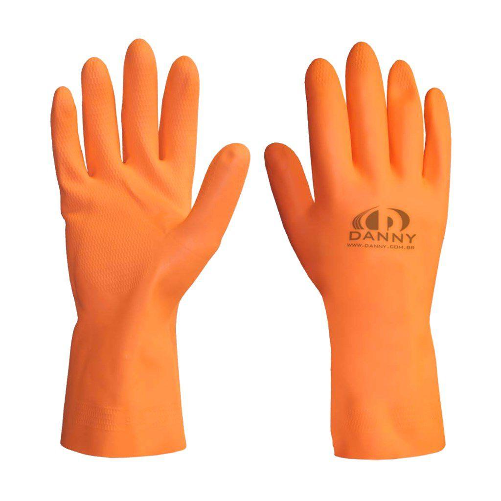 Luva limpeza geral reforçada laranja extra látex Danny