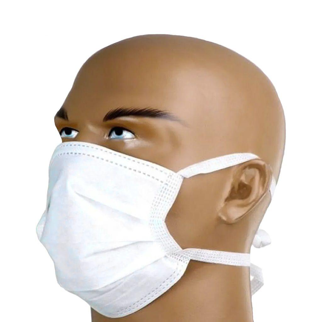 Máscara descartável de amarrar e clipe nasal caixa