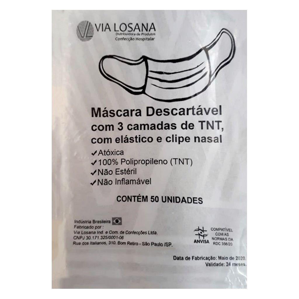 MÁSCARA DESCARTÁVEL TRIPLA COM ELÁSTICO E CLIPE NASAL VIA LOSANA