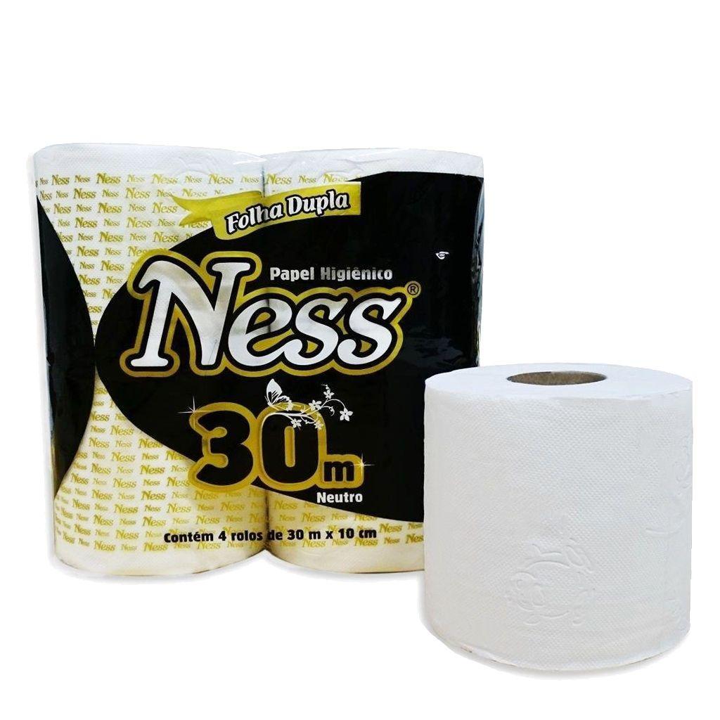 Papel higiênico folha dupla 30m pacote c/4 rolos Ness