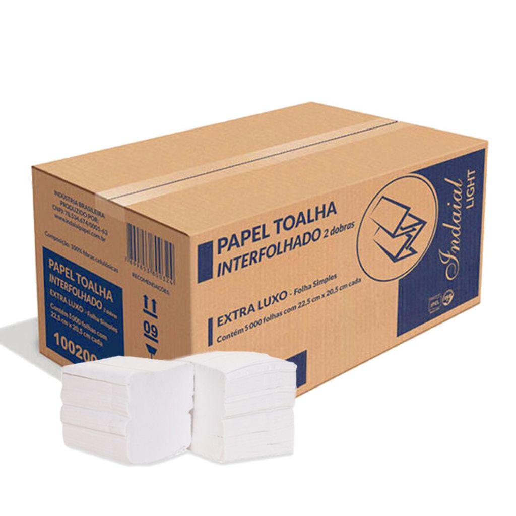 Papel toalha 2 dobras interfolha branco caixa c/5.000 Indaial