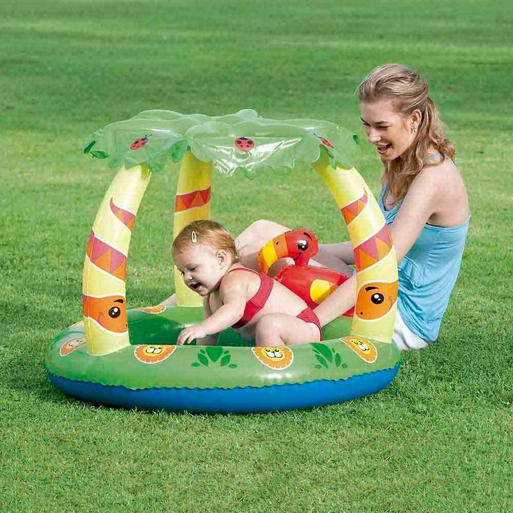 Piscina boia infantil inflável bebês 45 litros e cobertura MOR