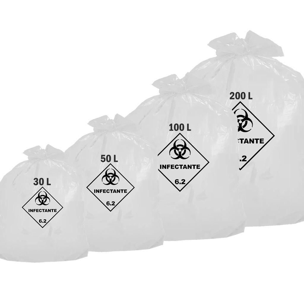 Saco de lixo infectante de 30 a 200 litros com 100 unidades