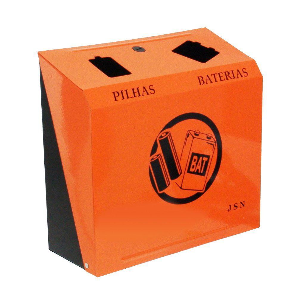 Suporte em aço inox para descarte de pilhas e baterias - ref. M5