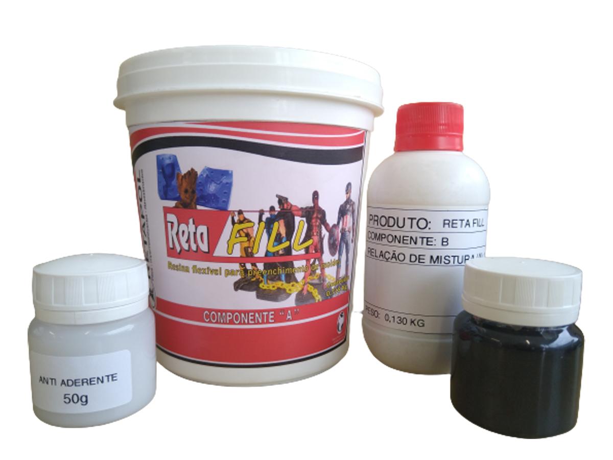 Kit Resina Flexível para Preenchimento de Moldes de Silicone Aço Alumínio Retafill 1kg