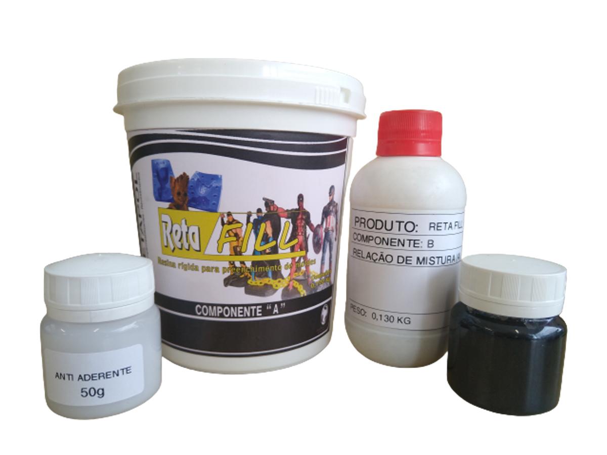 Kit Resina Rígida para Preenchimento de Moldes de Silicone Aço Alumínio Retafill 1kg