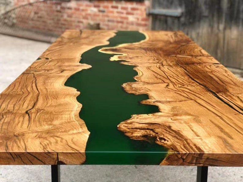 Resina Epóxi Verde Translúcida Para Mesas de Madeira River Table Madeira MDF Etc 1kg