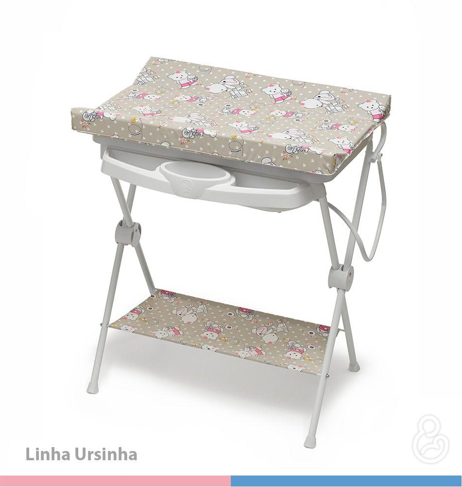 Banheira Bebê Galzerano Plastica Luxo Rígida Ursinha 7015