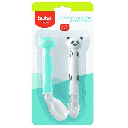 Kit Colher Panda Em Silicone Azul - Buba