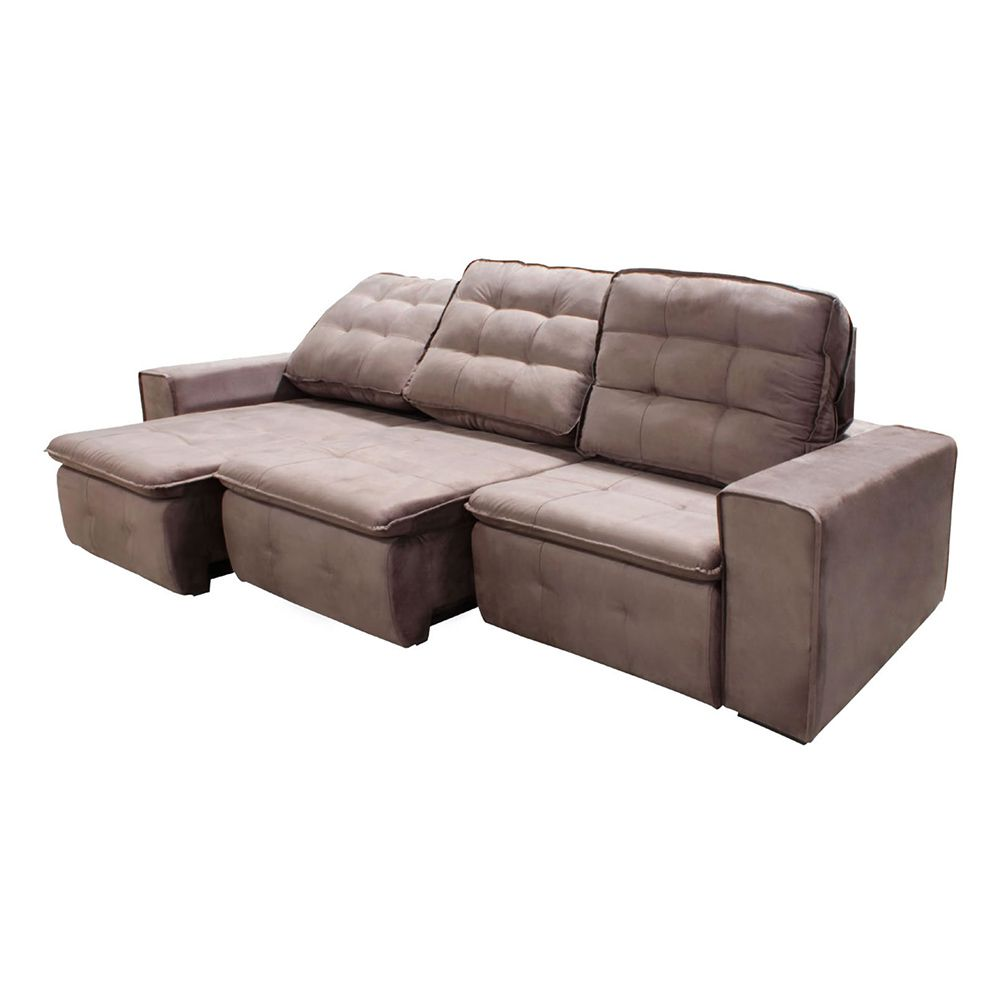 Excellent Sofa 3 Lugares Retratil Reclinavel Cordoba 2 90 M Suede Bege Machost Co Dining Chair Design Ideas Machostcouk