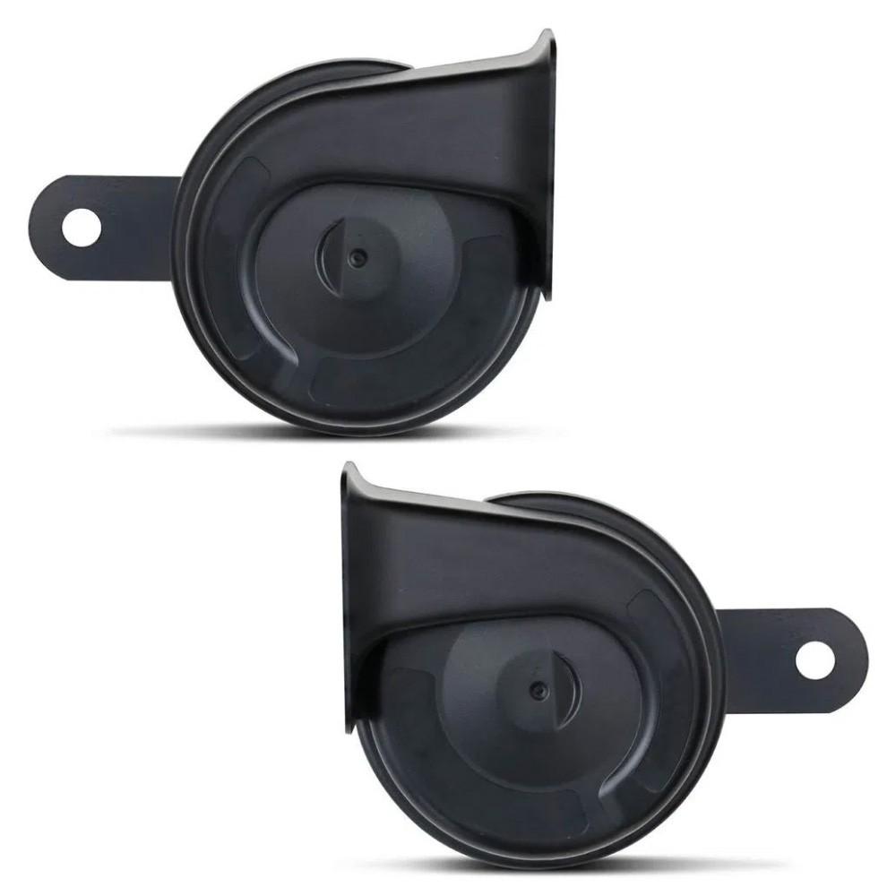Buzina Eletrônica Modelo Caracol Universal 12V Preta 2 Terminais CR8 Som Grave Agudo carro Caminhão