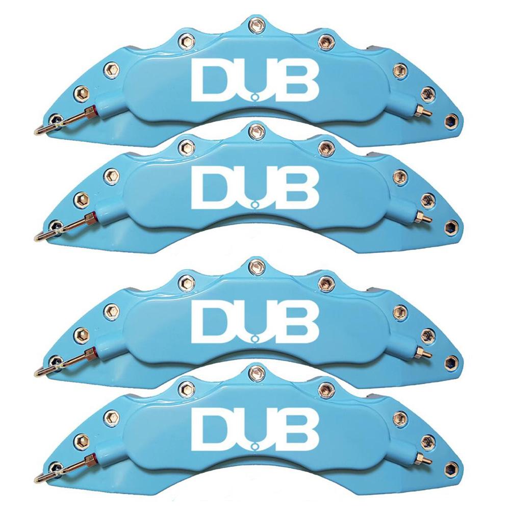 Capas para Pinça de freio Kit 4 Peças 24cm Azul Claro Escrita Branca Esportiva Dub